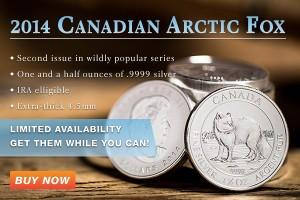 2014 1.5 oz. Silver Arctic Fox Coins
