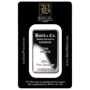 Baird Mint 1 oz Rhodium Bar