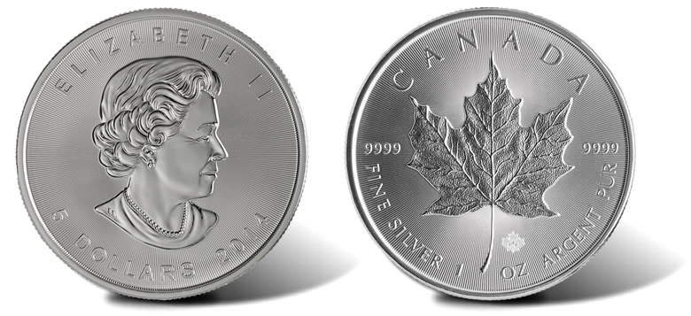 2014 Silver Maple Leaf Front and Back