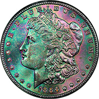 Rainbow Toning In Morgan Dollars Is More Common Than In Other Silver Coins This Is Because Many Coins Were Stored In U S Treasury Vaults In Canvas Bags