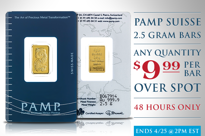 Pamp Suisse 2.5g Gold Bars On Sale