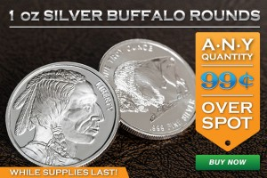 99¢ Over Spot Per Coin! Silver Buffalo Rounds On Sale!
