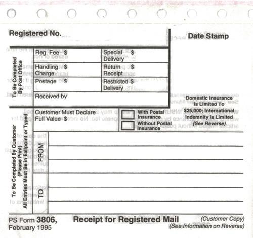 USPS Registered Mail Form 3806