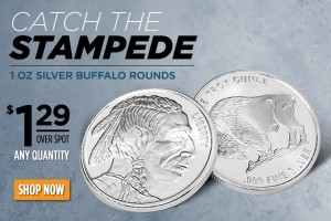 1 oz Silver Buffalo Rounds – $1.29 Over Spot!